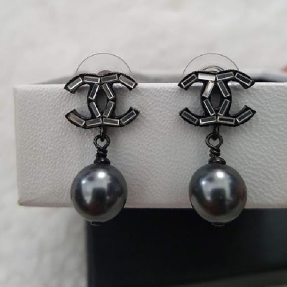 516fedcd20e272 CHANEL Jewelry | Crystal Pearl Grey Drop Earrings | Poshmark